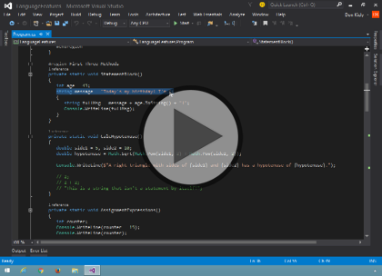 Programming C# 6, Part 03 of 12: Projects and Syntax Trailer
