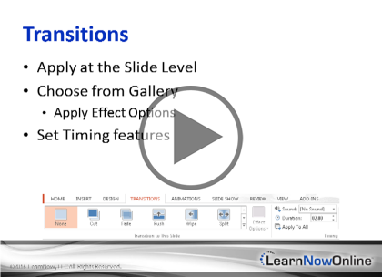 Microsoft PowerPoint 2013, Part 4: Presentations